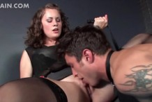 Mistress keeps his licker on a short leash