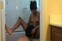 Lick black pussy and ass in the toilet