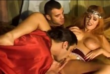 Oriental beauty has fun with two lovers