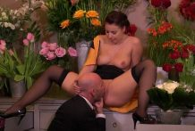 Licking pussy in a flower shop