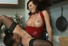 Eating sweet milf pussy in the kitchen