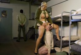 Woman commander ordered the soldier to lick pussy